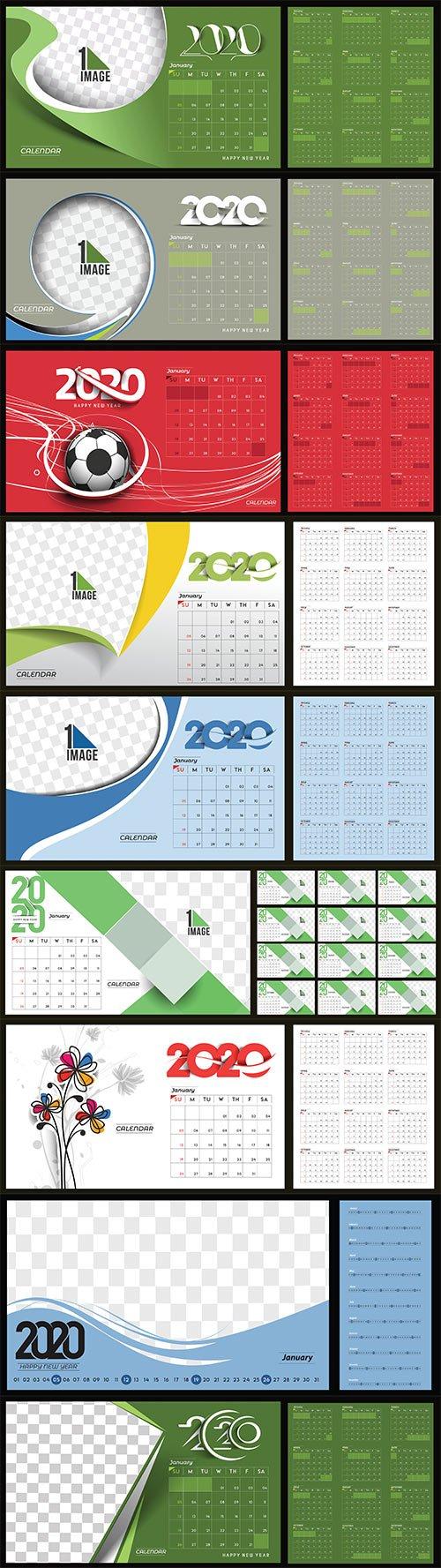 Happy new year 2020 Calendar vector illustration