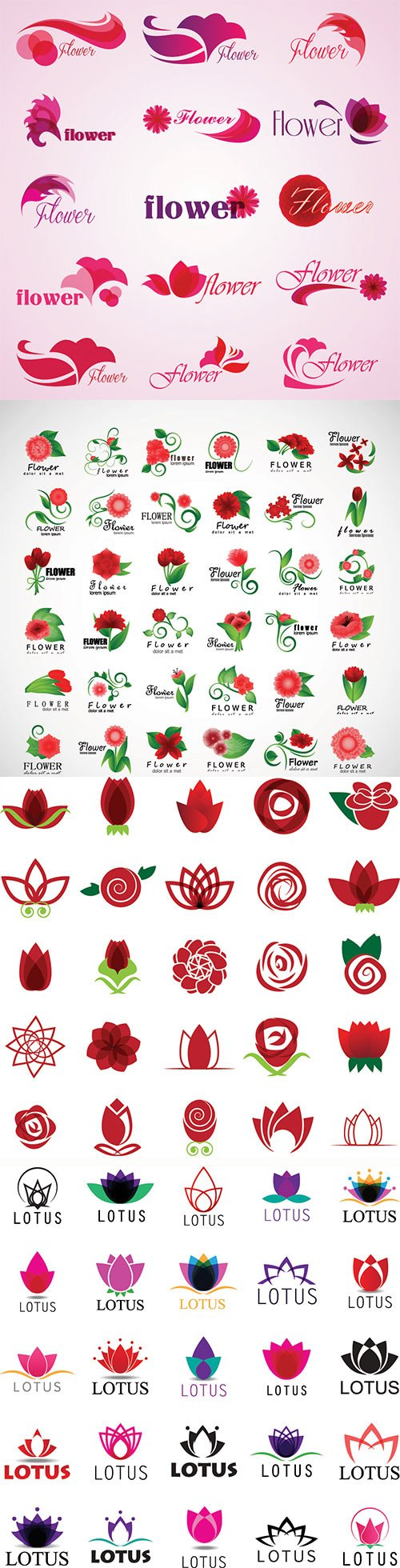 Flower icons vector set