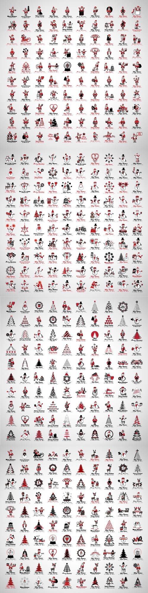 Santa Claus icons and Christmas elements set