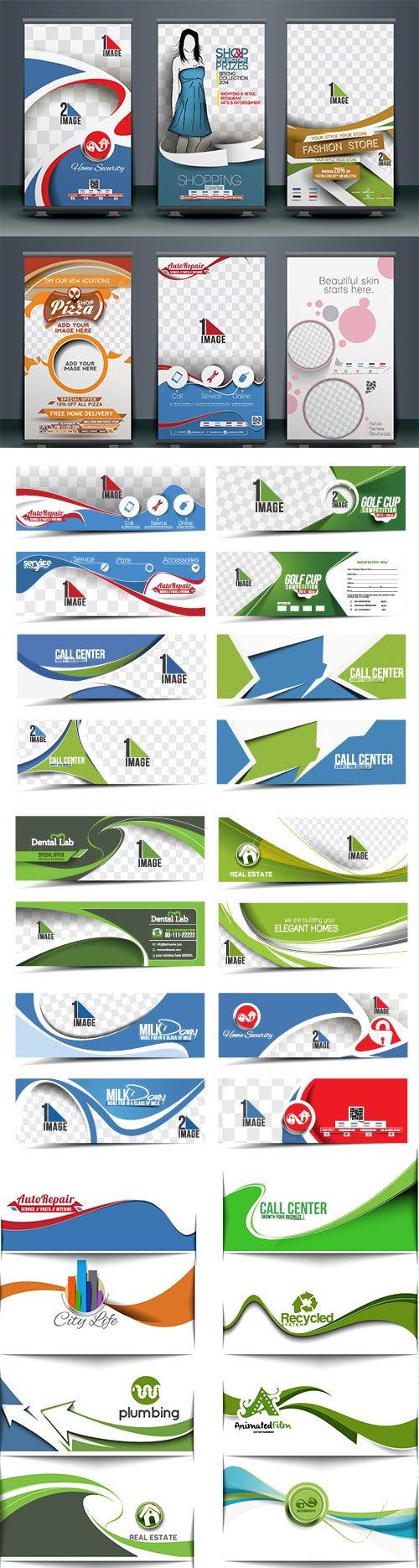 Modern horizontal banner and header template