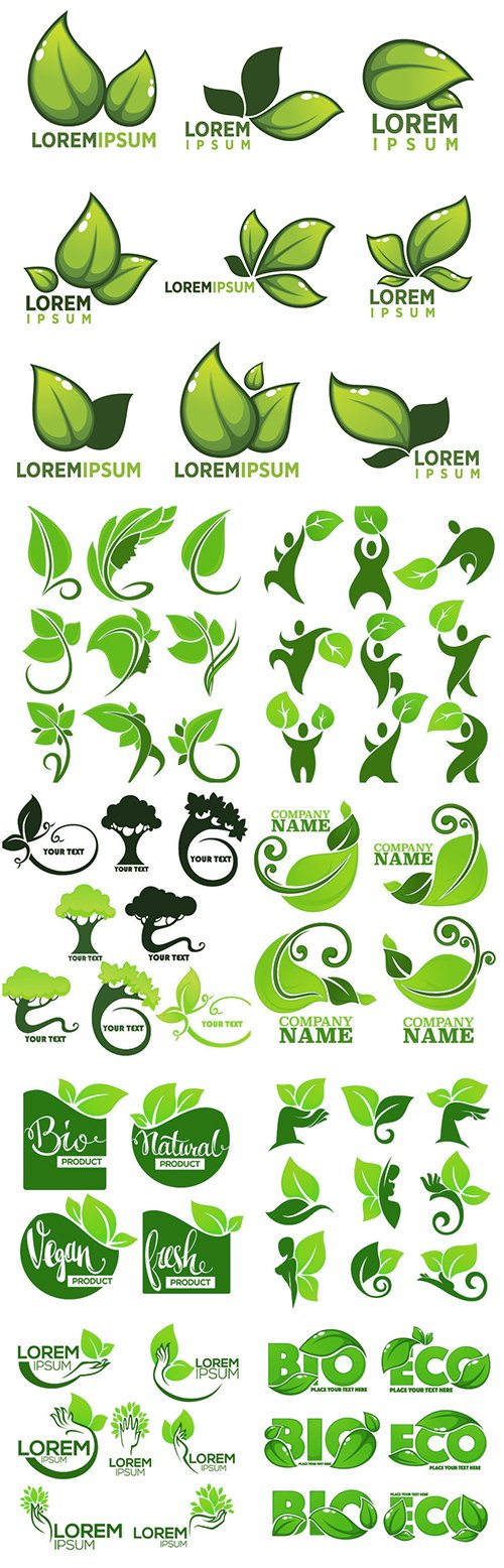 Organic leaves emblems and logo