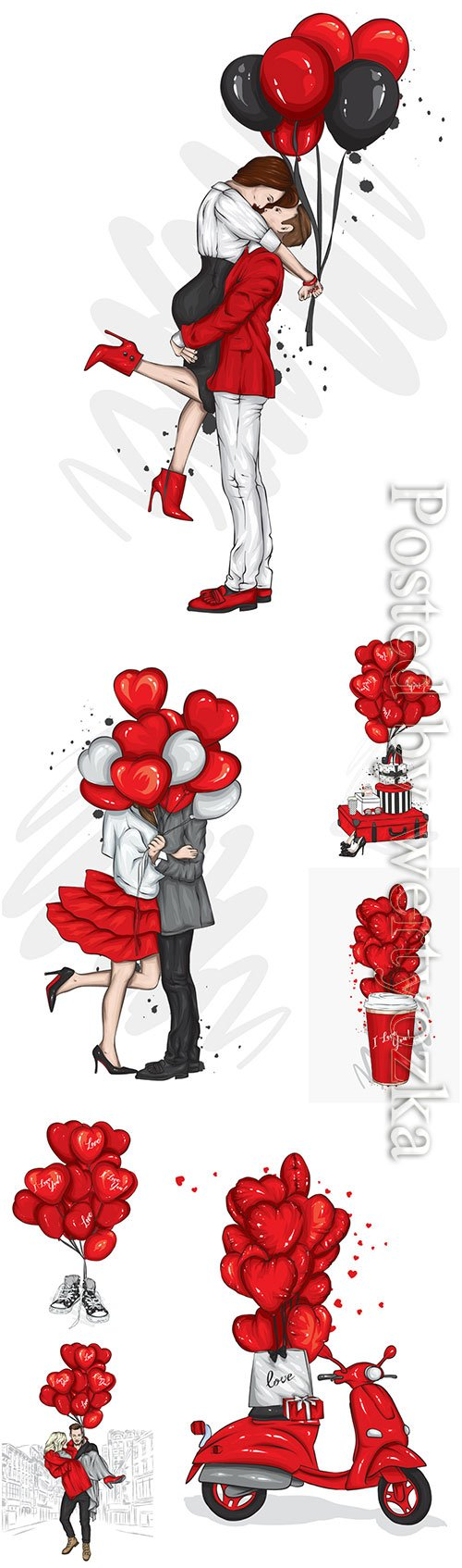 Loving couple with heart-shaped balloons