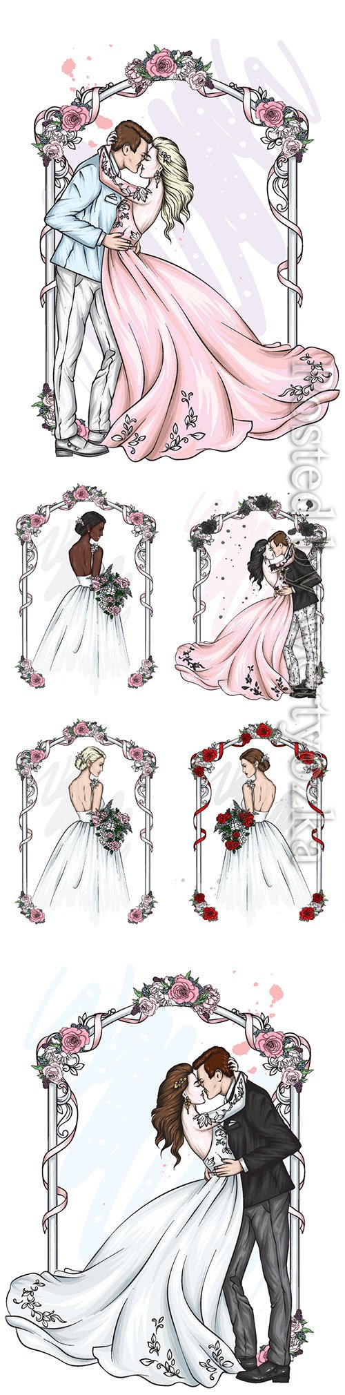 Groom and bride wedding vector