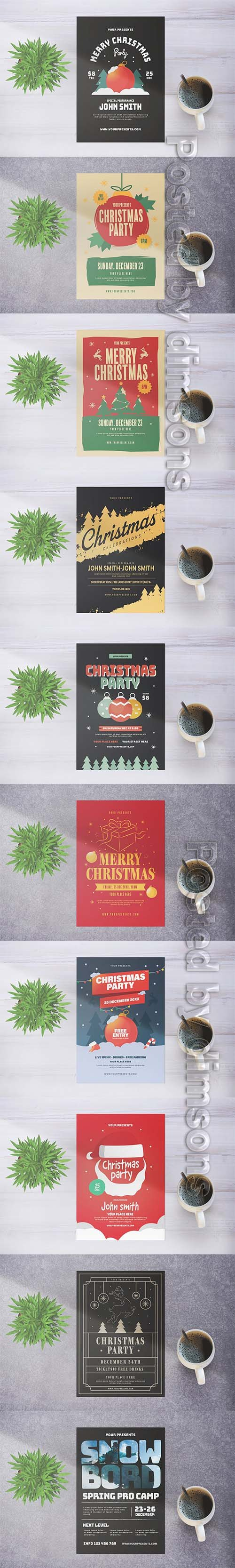 10 Merry Christmas Party Flyers Pack