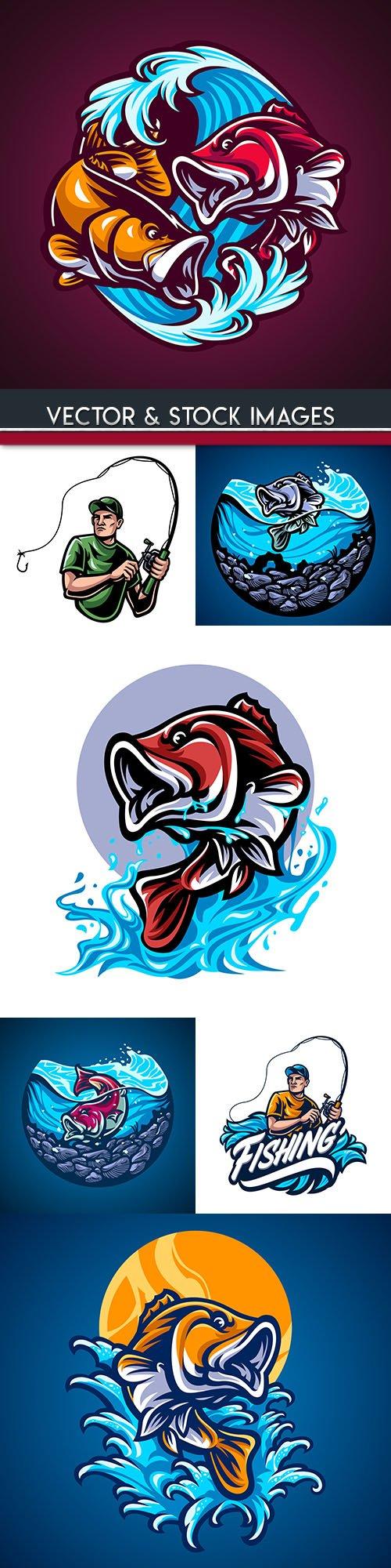 Fish handdrawn illustrations design logo