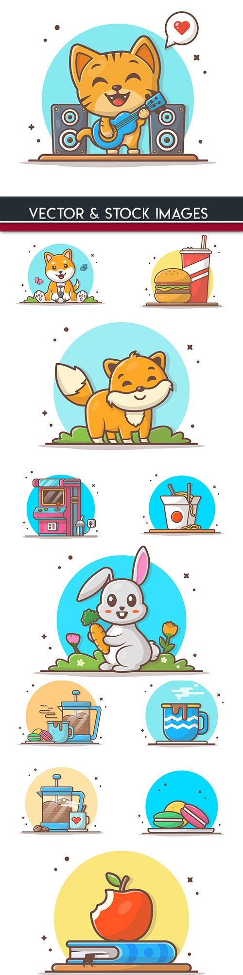 Funny animals icon illustration and badges