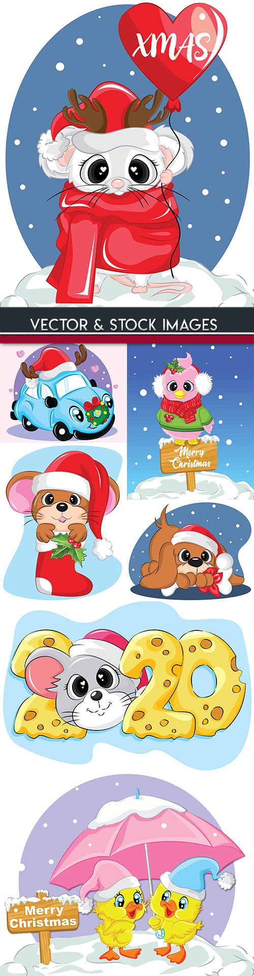 Pretty mouse in Santya scarf cap illustrations