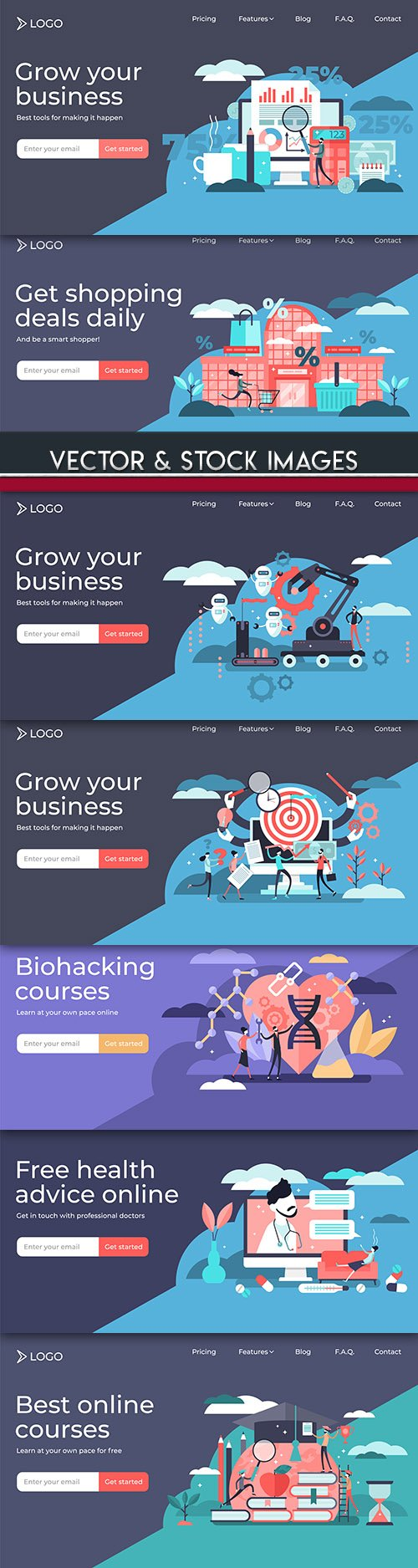 Shopping, online technology and people flat illustration