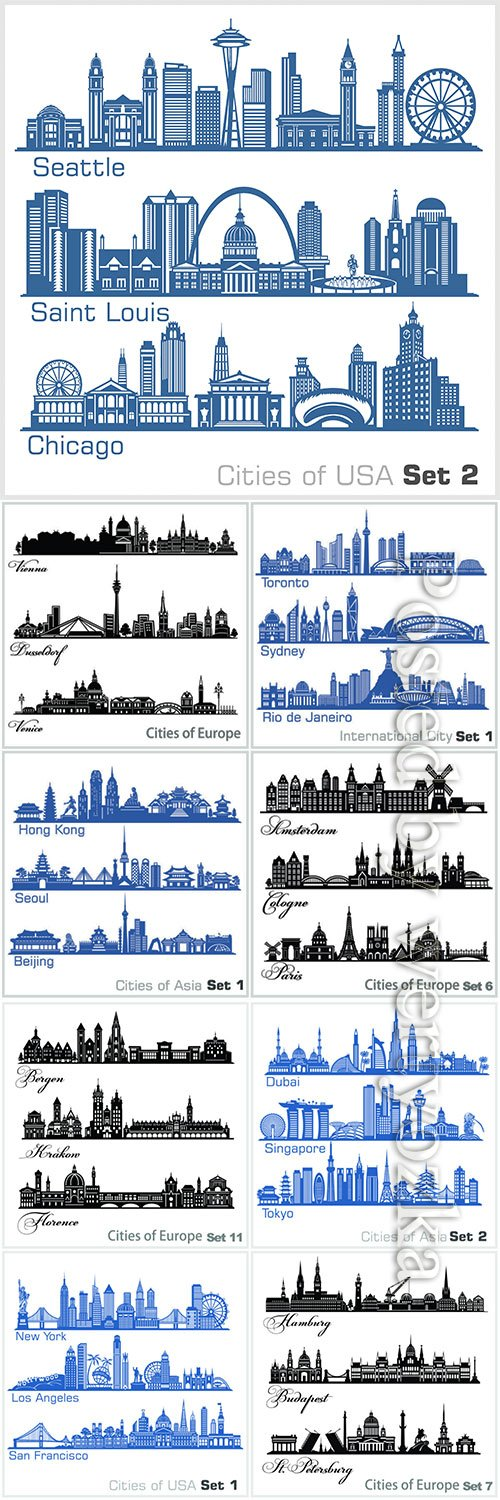 Cities architecture vector illustration