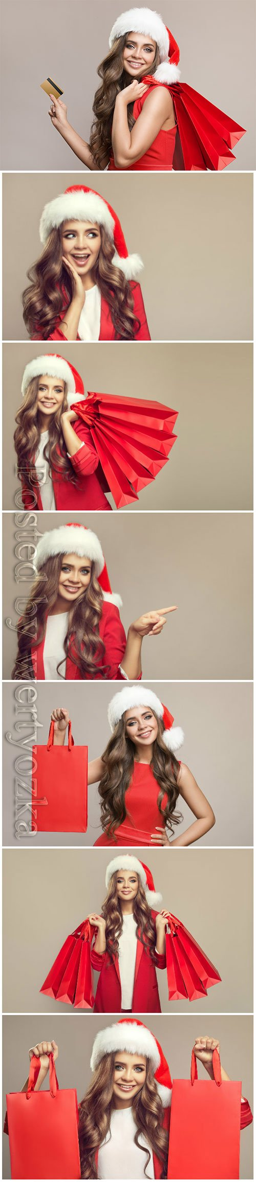 Woman, santa hat, holding, red, shopping, bags