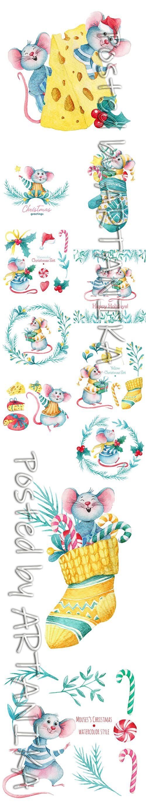 Hand-Drawn Watercolor Mouse Christmas Illustration Set
