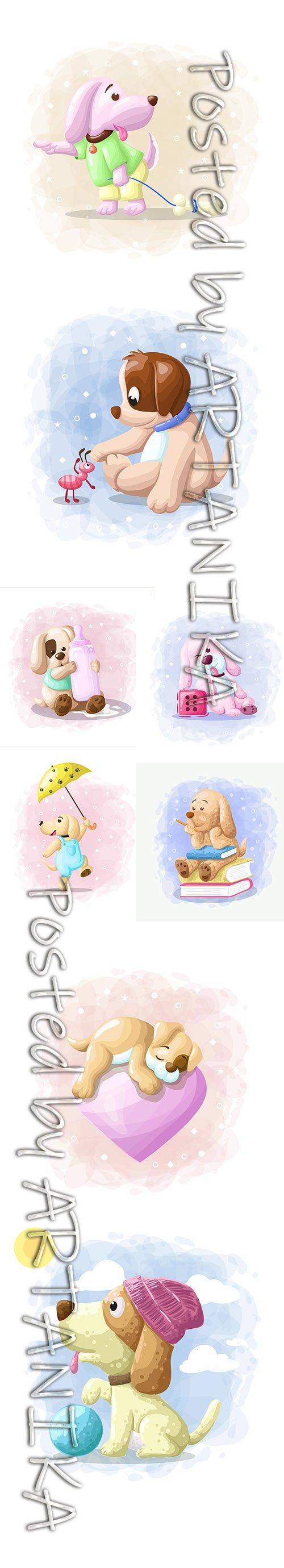 Cute Little Animals Cartoon Illustrations