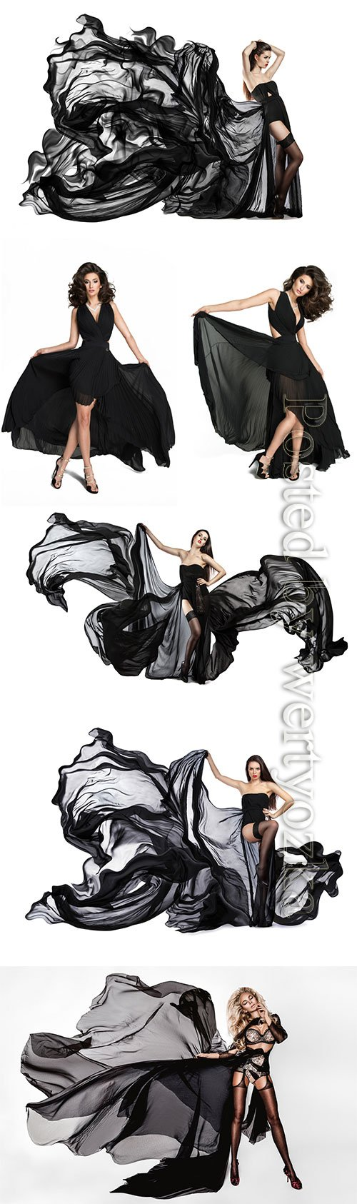 Beautiful girl in flying black dress