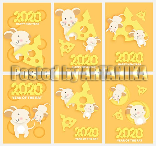 Chinese New Year 2020 Rat Paper Style