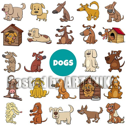 Big Dogs Cartoons Vector set