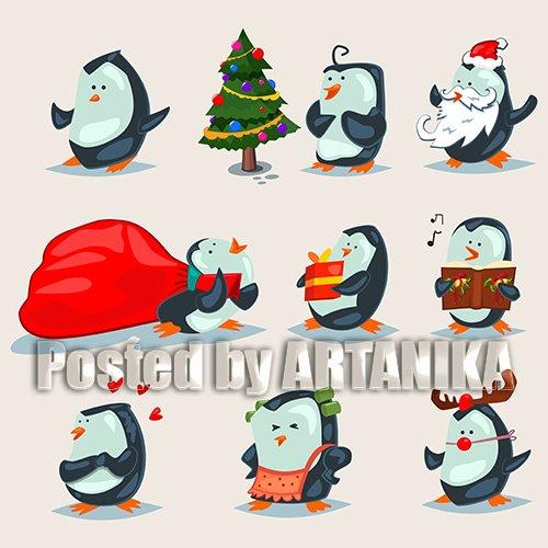 Christmas Cute Penguins Characters Set