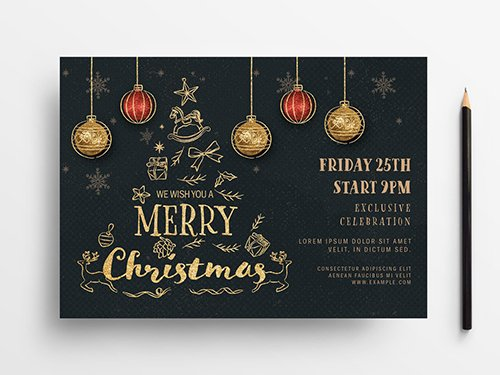 Holiday Event Flyer Layout with Gold Illustrations 305809142 PSDT