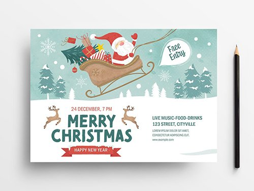 Holiday Event Flyer Layout with Santa Scene Illustrations 305809244 PSDT