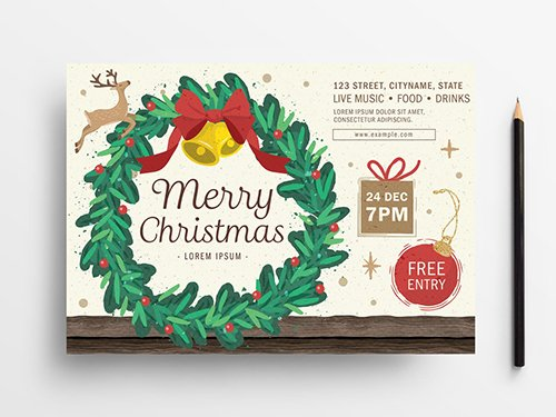 Holiday Event Flyer Layout with Wreath Illustration 305809167 PSDT