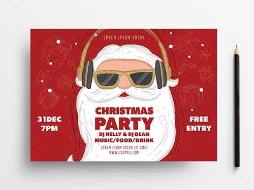 Holiday Party Event Flyer Layout with Santa Illustration 305812132 PSDT