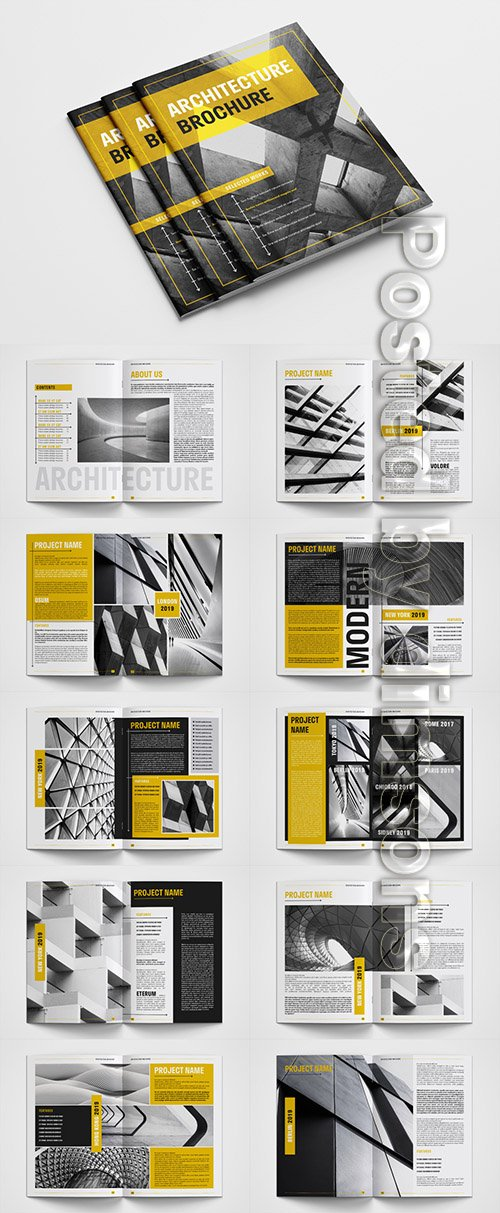 Brochure Layout with Yellow Accents 307433138 INDT