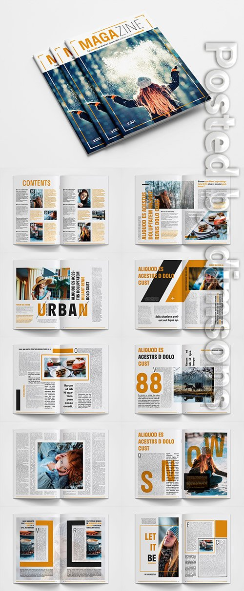 Magazine Layout with Orange Accents 307432154 INDT