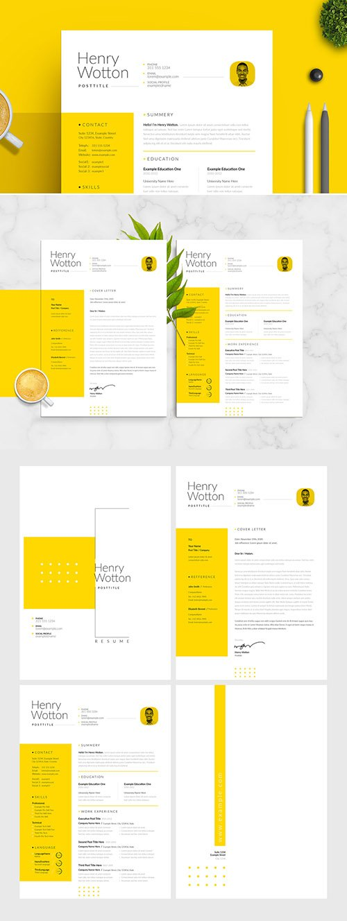 Minimal Resume and Cover Letter Layout with Yellow Accent 305746069INDT