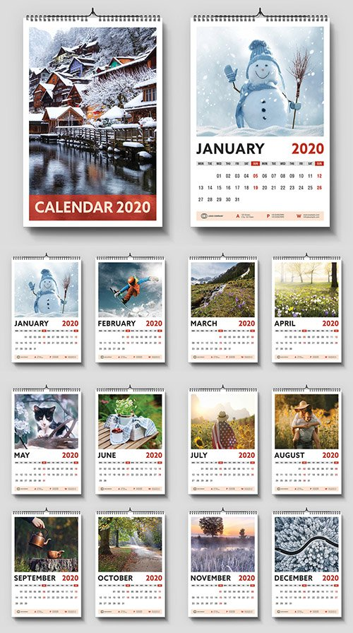 2020 Wall Calendar Layout with Red Accents 307432823