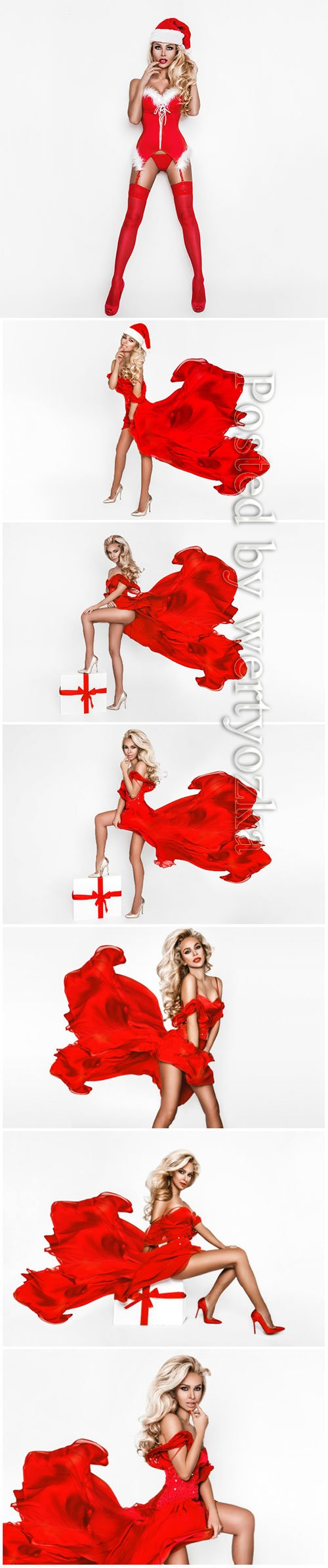 Beautiful blonde in a red dress on a white background