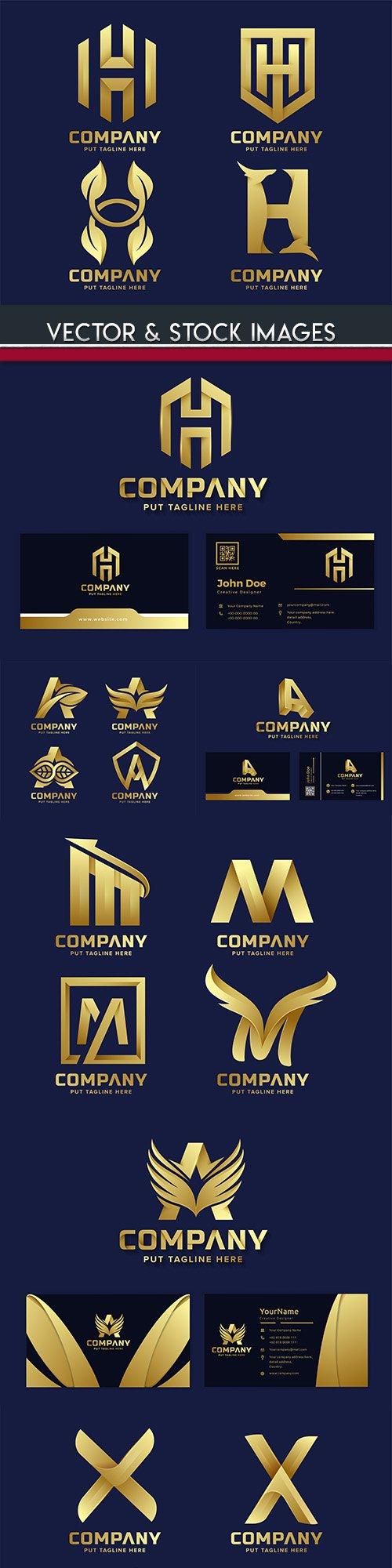 Gold business logos corporate company design 36