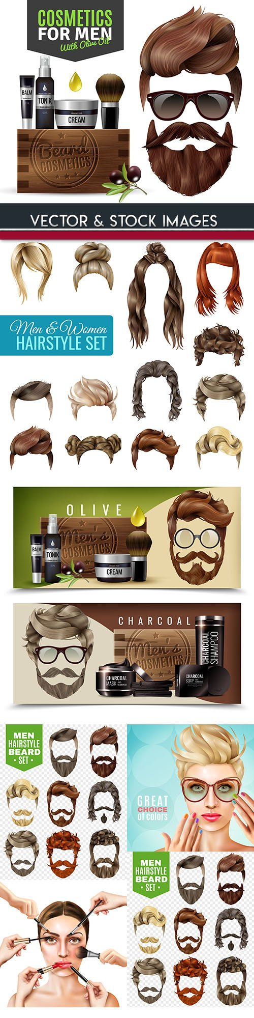Hairstyle, female and male cosmetology 3d illustration