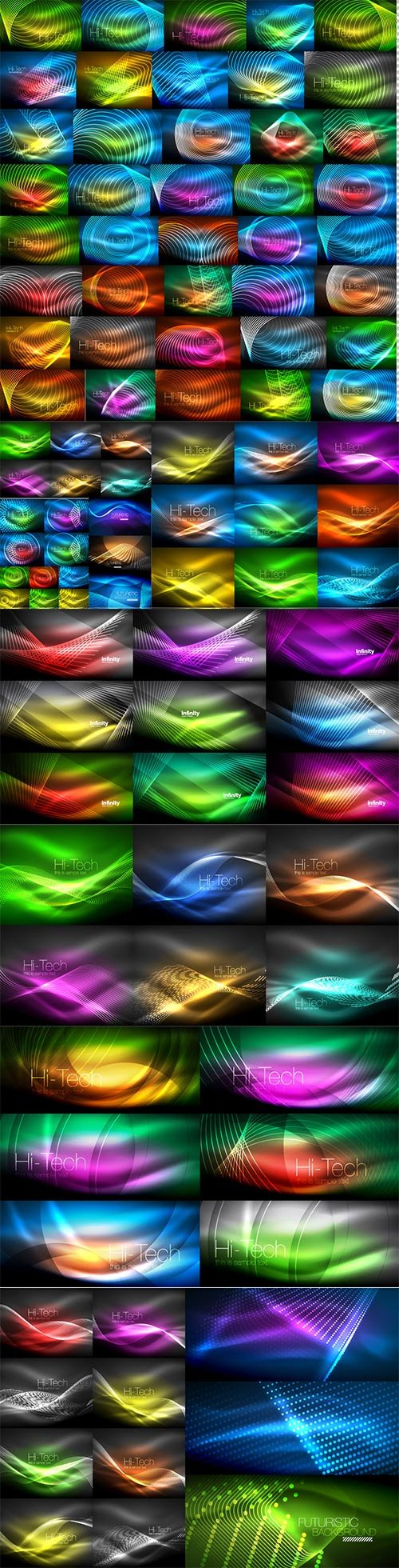 Mega collection of neon glowing waves # 6
