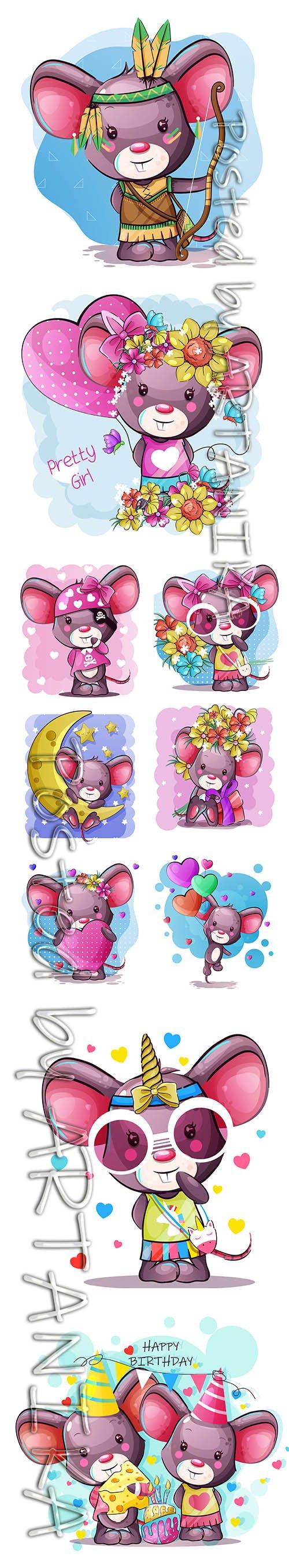 Cute Cartoon Mouse Hand-Draw Illustrations Set Vol 2