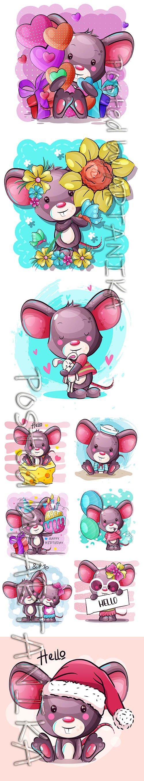 Cute Cartoon Mouse Hand-Draw Illustrations Set