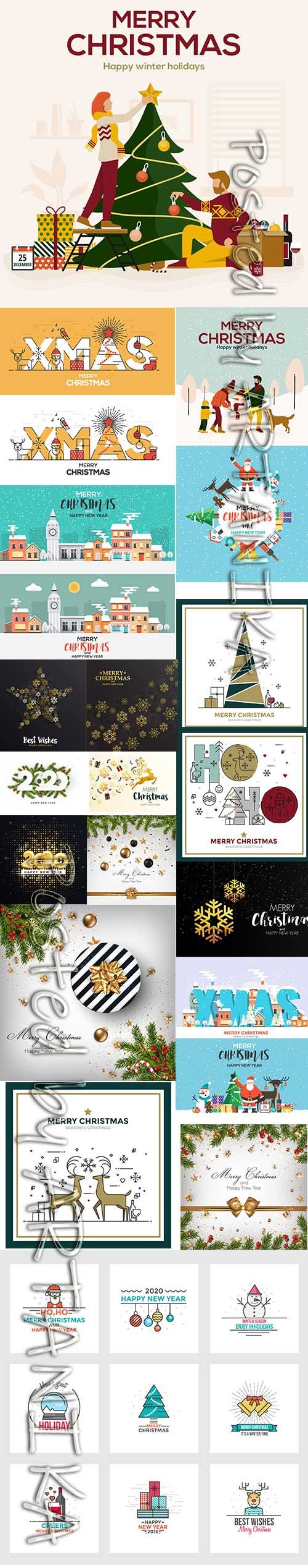 Merry Christmas and New Year 2020 Vector Illustrations Pack Vol 15