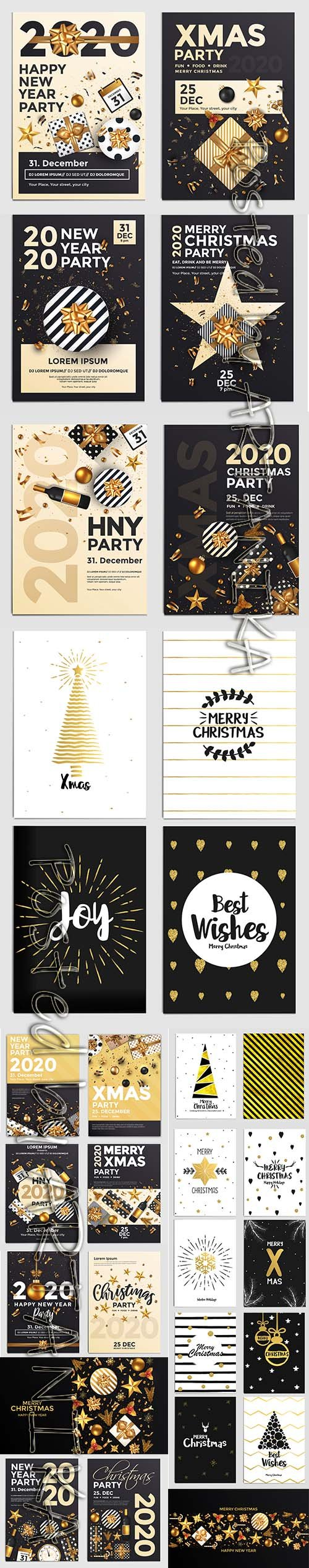 Holiday New Year Card and Merry Christmas Background Set Vol 2