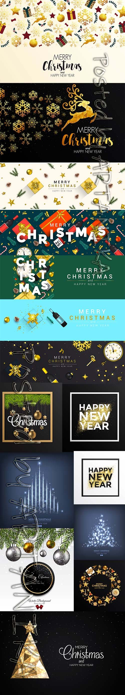 Holiday New Year Card and Merry Christmas Background Set