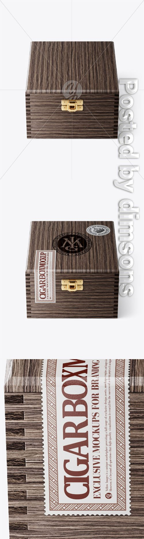 Wooden Cigar Box Mockup - Front View (High Angle Shot) 33785 TIF
