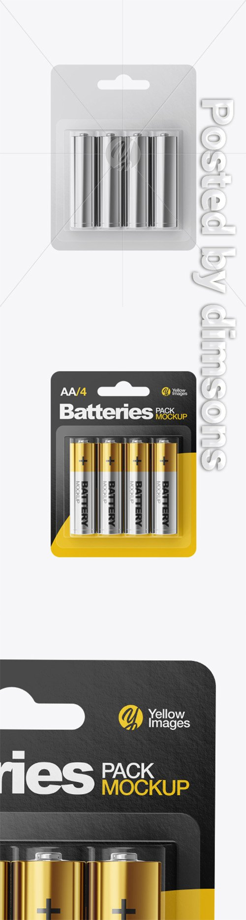 4 Pack Metallic Battery AA Mockup 32897 TIF