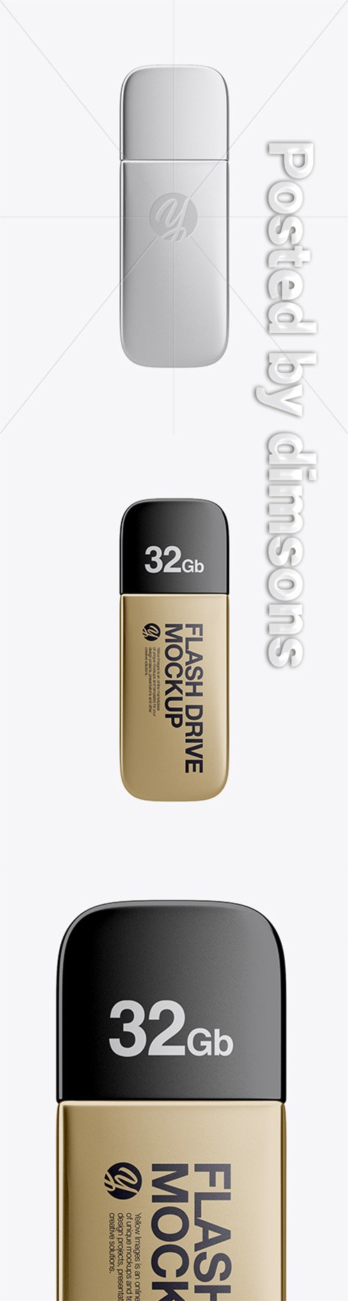 Metallic USB Flash Drive Mockup - Top View 32648 TIF