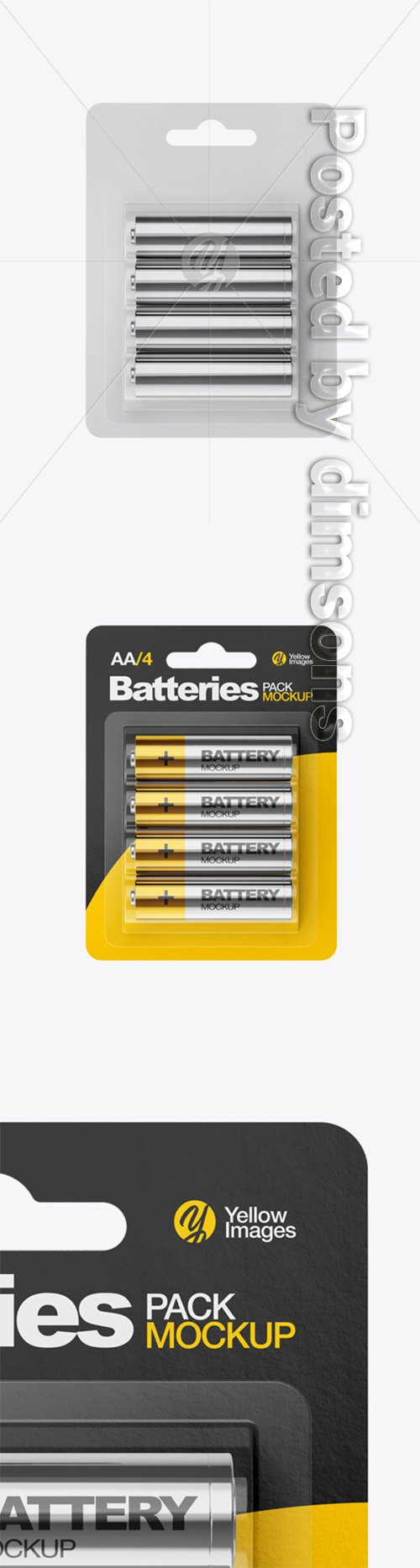 4 Pack Metallic Battery AA Mockup 33120 TIF