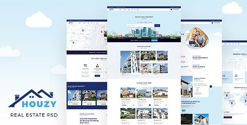 Houzy | Real Estate Listing PSD Template 23098382