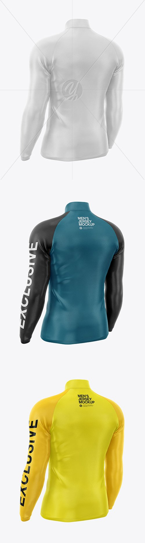 Mens Jersey With Long Sleeve Mockup - Backt Half Side View 49470