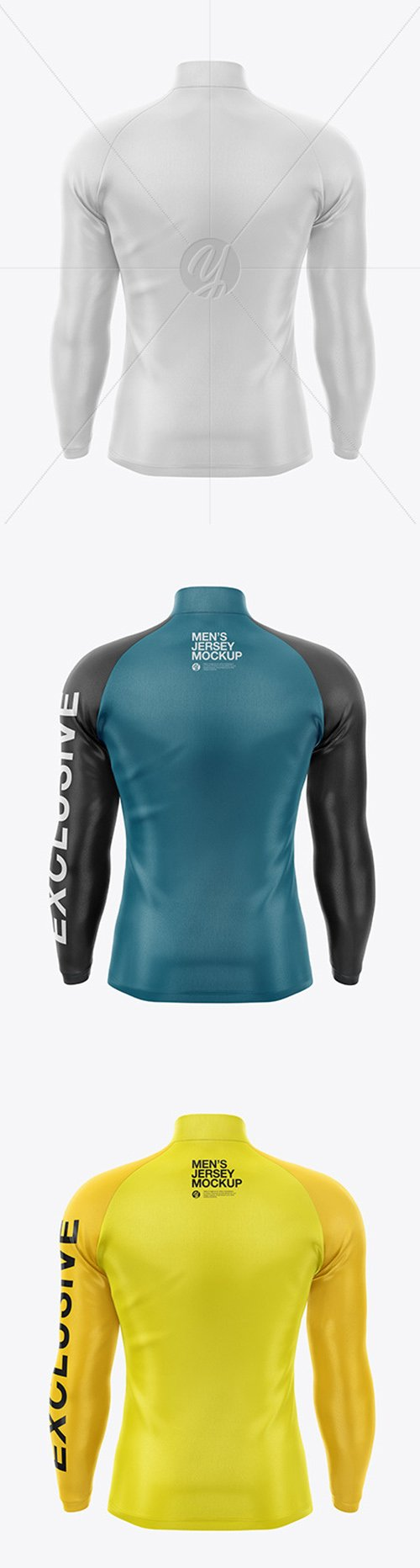 Mens Jersey With Long Sleeve Mockup - Back View 49454