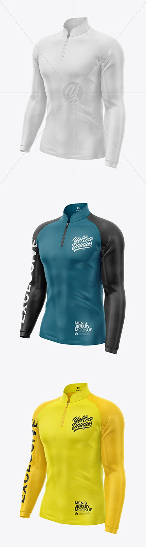 Mens Jersey With Long Sleeve Mockup - Front Half Side View 49461