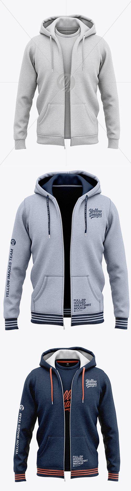Full-Zip Heather Hooded Sweatshirt Front View 48926