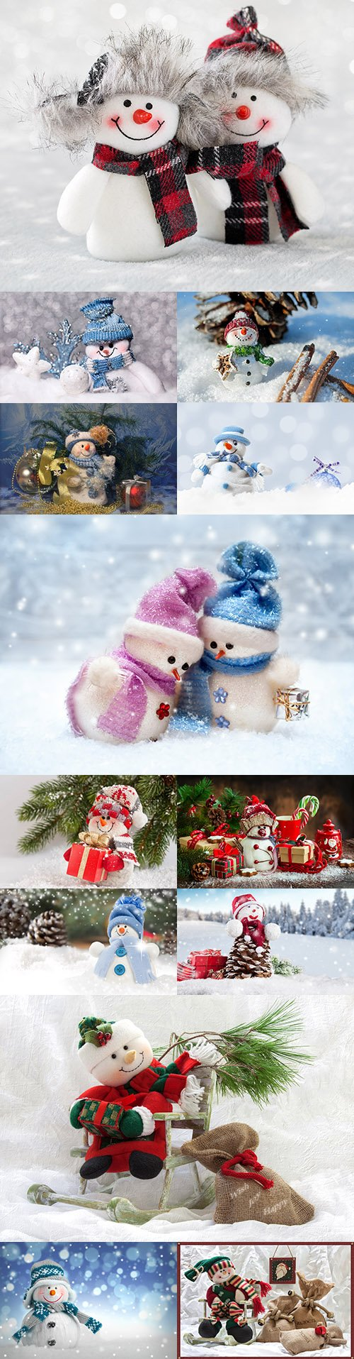 Happy Christmas funny snowman decorative composition