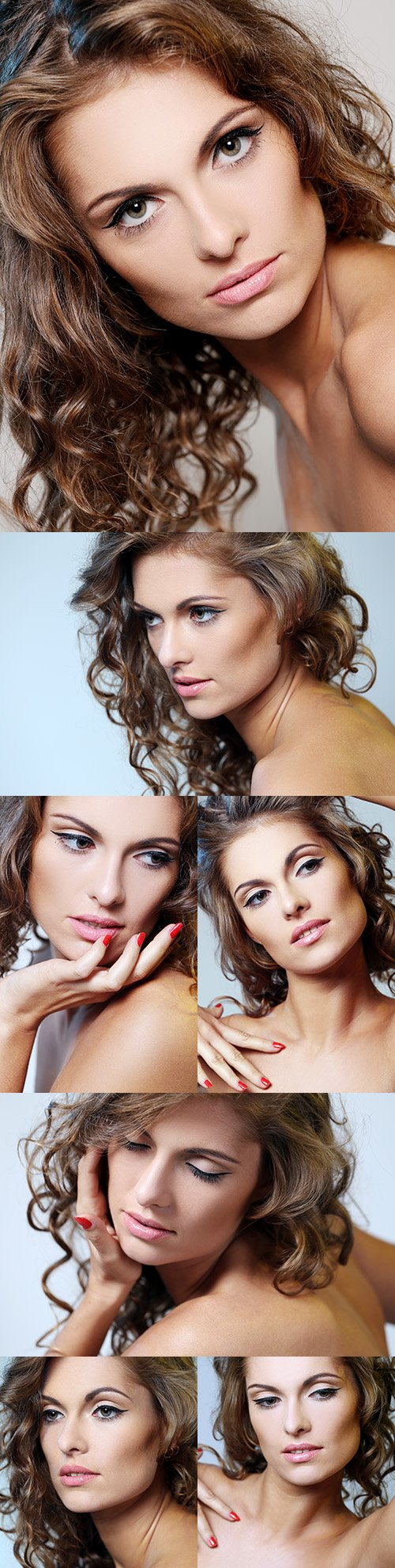 Beautiful girl with makeup with hanging hair