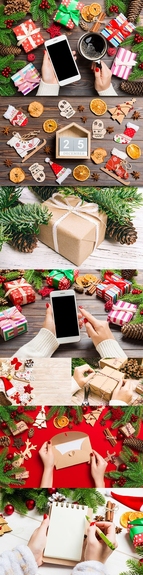 Christmas hand with gifts and iPhone decorative composition
