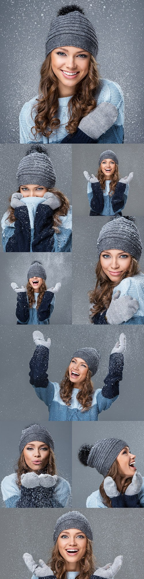Cute girl in winter hat and wares with snowflakes